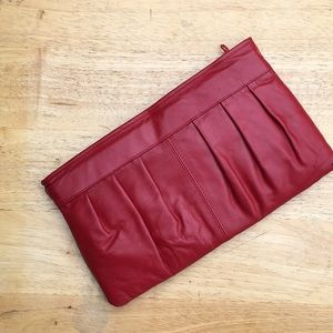 Handbags - Vintage red leather clutch purse